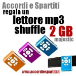 Accordi e Spartiti regala un lettore mp3 Majestic 2GB
